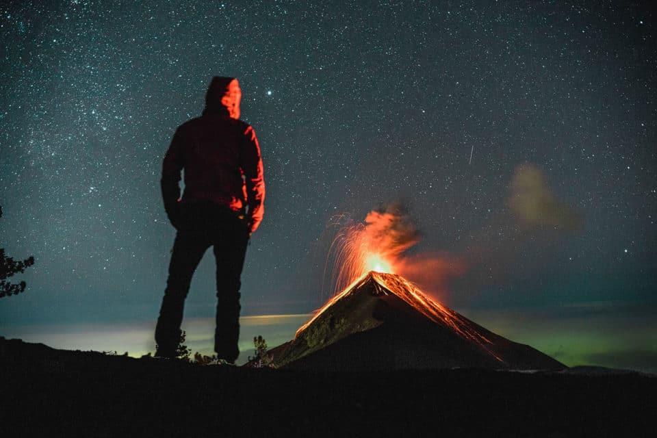 Volcano-Acatenango Erupting