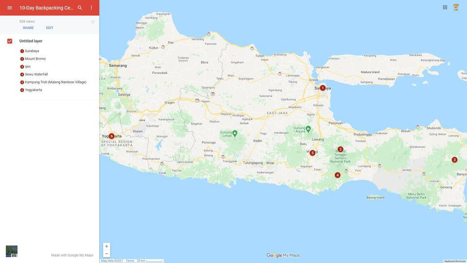 Java Itinerary Map