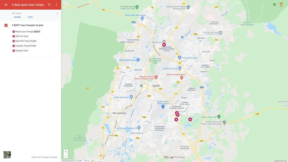 Map Of The Best Ipoh Cave Temples