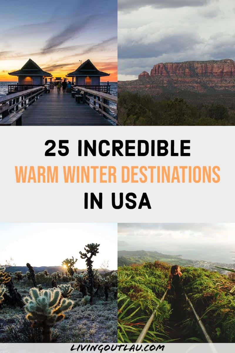 Warm Places To Visit In December USA Pin