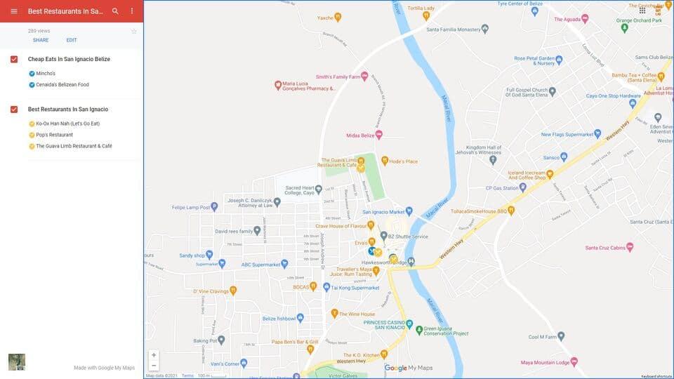 Map of Best Restaurants in San Ignacio