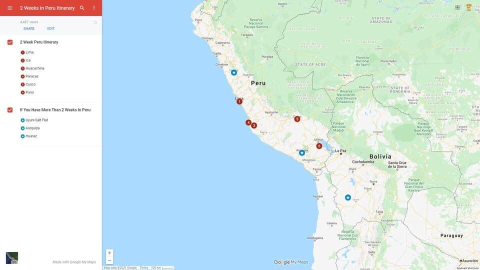 2 Week Peru Itinerary Map