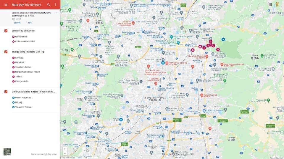 Nara Day Trip Itinerary map