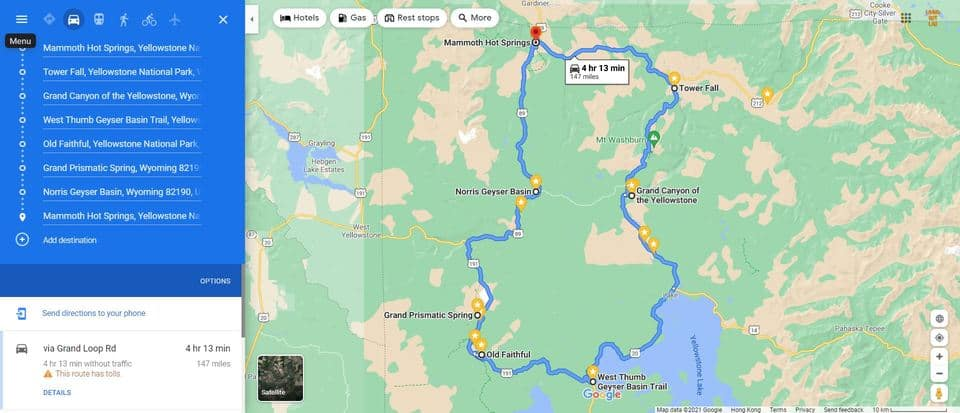 2 Days in Yellowstone Map