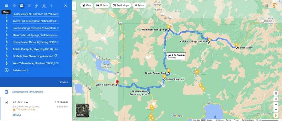 Day 1 Yellowstone Itinerary Map