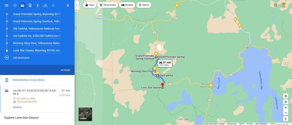 Day 2 Itinerary Yellowstone Map