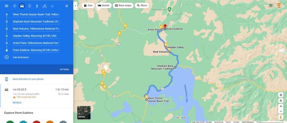 Day 3 Yellowstone Trip Itinerary Map