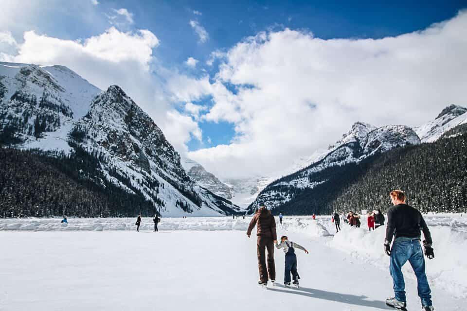 Ice skating at Lake Louise