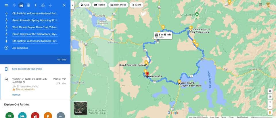 One Day in Yellowstone Map