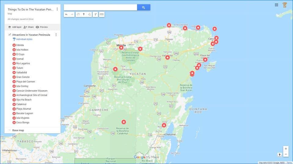 Yucatan Peninsula Itinerary Map