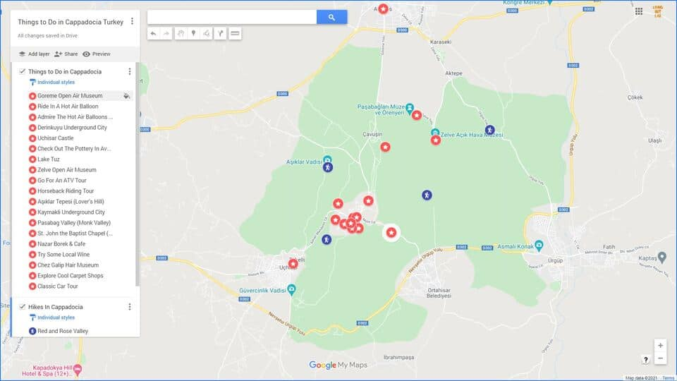 Map of Tourist Attractions in Cappadocia